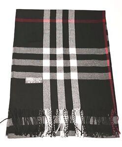 New-Pashmina-Scarf-Shawl-Veil-Black-Quality-Wrap-Woman-Men-Plaid-Accessory