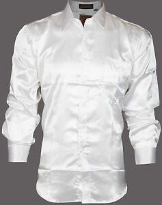 DESIGNER Mens BUTTON DOWN Shirt SATIN Silk Like WHITE Dress Work ...