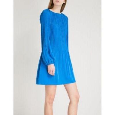 Maje Bleu Moyen Polyester Manches Longues Plisse Robe Trapeze Sz 2 H17rockin Ebay