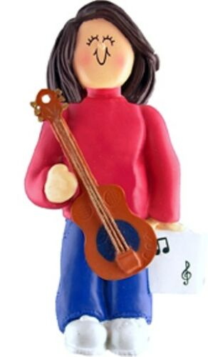 Musician Female Brunette 13 Musical Instruments Personalized Christmas Ornament
