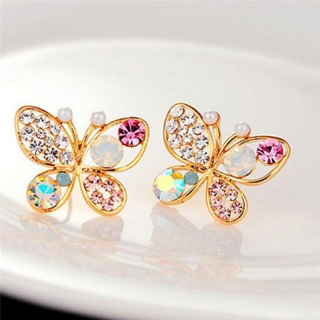 Ladies Chic Lovely Crystal Rhinestone Hollow Butterfly Ear Stud Earrings GifIHS