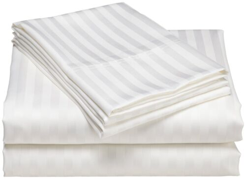 White/_With Stripe/_100/%Egyptian Cotton 250TC Hotel Style Fitted Bedsheet All Size