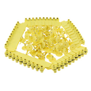 100 Pcs Large Blank Livestock Ear Tags for Pig Cow Cattle Goat Sheep Yellow