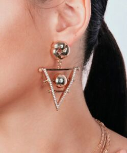 THE-STYLED-COLLECTION-PHOENICIAN-DANGLES-EARRINGS-NEW-GOLD-TONE-WITH-CRYSTALS