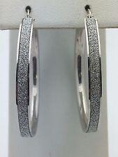 """New 925 Sterling Silver Diamond Dust 1.5"""" inches Round Hoop Loop Earrings 4.2 g"""