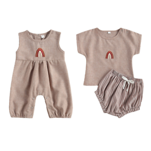 USA Sibling Brother Sister Twin Baby Boy Girl Rainbow Jumpsuit Top Pants Outfits