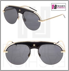 32def3c18aa Image is loading CHRISTIAN-DIOR-REVOLUTION-Black-Gold-Metal-Aviator- Sunglasses-