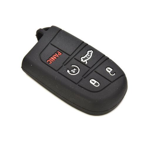 Black Silicone Case Cover For Jeep Chrysler Dodge Fiat Remote Smart Key 5Button!