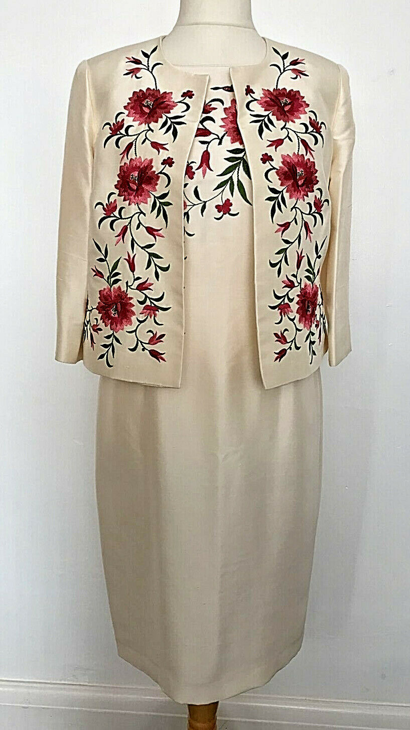 Monsoon Ivory Pink Embroidered Floral Mother of the Bride Silk Dress Jacket UK14