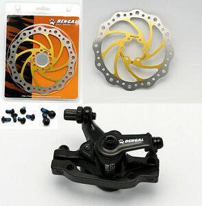 BENGAL Bike Bicycle Mechanical 160mm Front Disc Brake + Bolt + Pads + Gold Rotor