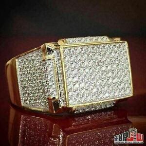 New Item 925 S.Silver Lab Diamond Pinky Ring Men/'s Hip Hop Ring Gold Finish
