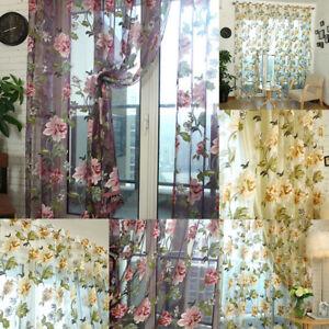 Vorhang Gardine Schlaufenschal Vorhang Wohnzimmer Blumenmuster Deko 100 x 250cm