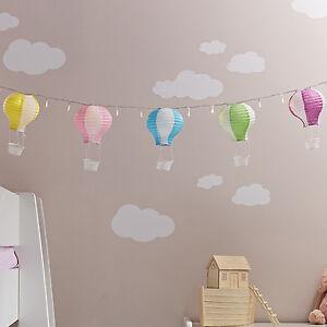 Details zu 20er LED Lichterkette Heißluftballon Papier Deko Kinderzimmer  Batterie Innen