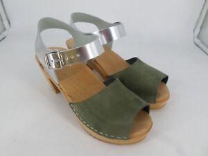 Ladies Leather Peep Toe Clog Sandals UK 8 EU 42 LN25 84