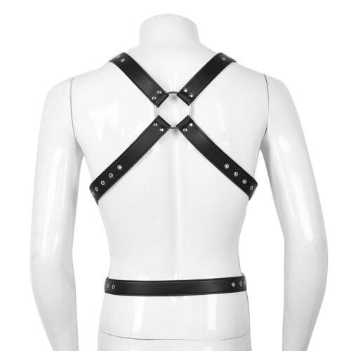 Mens PU Leather buckle Costume Full Body Chest Harness Stage Fancy wear Clubwear
