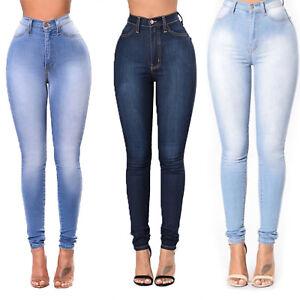 Women-High-Waist-Denim-Skinny-Slim-Jeans-Stretch-Pencil-Pants-Casual-Trousers