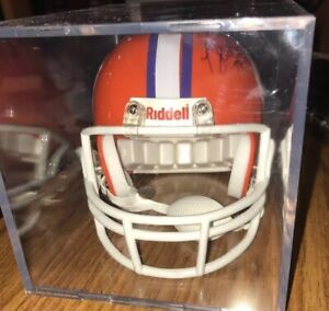 CLEMSON TIGERS RIDDELL MINI HELMET IN AN ACRYLIC CASE AUTOGRAPHED 3 5/8
