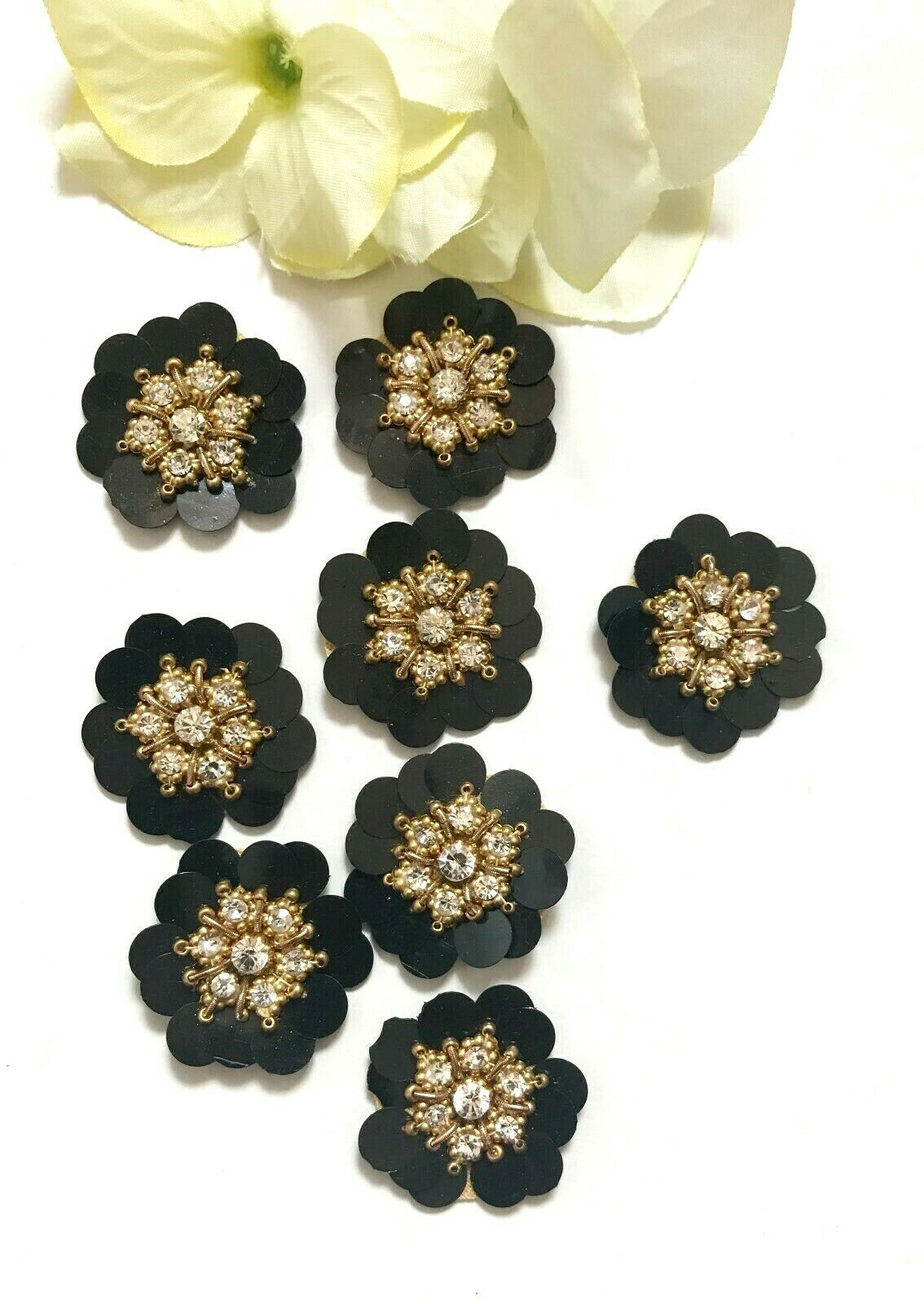 5 Pcs Latest Indian Round Black Flower Sequence Rhinestone zardosi Applique