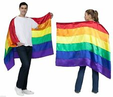 Adult Women Men Gay Lesbian Pride Rainbow Clown Cloak Cape Costume Accessory NEW