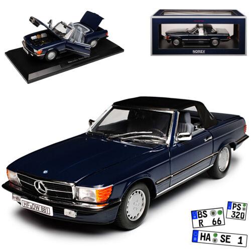 Mercedes-Benz 300sl r107 cabriolet bleu foncé avec Soft Top 1971-1989 1//18 NOREV Mo
