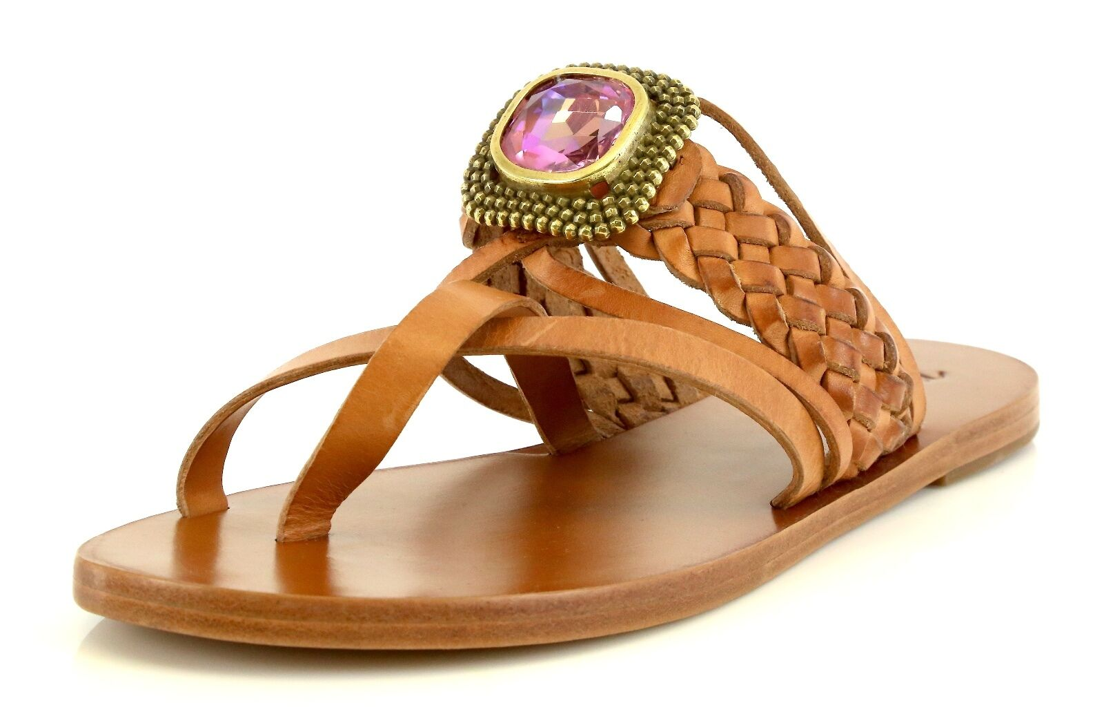 Miss. Trish SEAJEWEL Marronee Leather Sandals 7060 7060 7060 Dimensione 7.5 M NEW  4fe818
