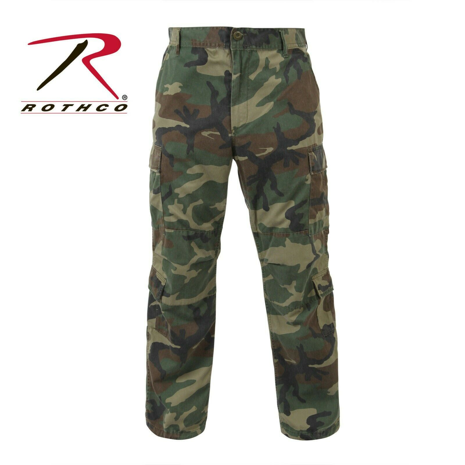 Vintage Woodland Camouflage Paratrooper Pants Military BDU Fatigues redhco 2586