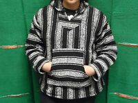 Hoodie Baja,surfer Mexican Poncho Sweater Black And White,choose Size Xl,l,m,new