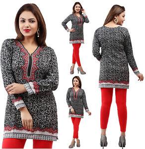 Unifiedclothes-WOMEN-INDIAN-SHORT-KURTA-KURTI-BLACK-TUNIC-TOP-SHIRT-40A