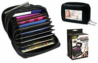 Deluxe Leather Security RFID Accordion Wallet Zipper Case Credit Card Holder NEW
