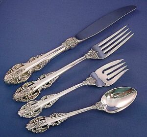 EL GRECO Reed /& Barton sterling 4pc PLACE SETTING in Hagerty keeper roll