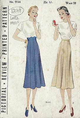 1930s Vintage Sewing Pattern WAIST:32 SKIRT (1278)