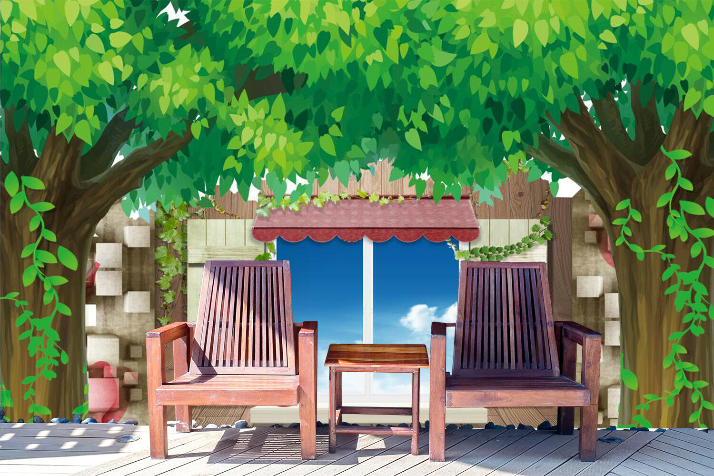 3D Grün Tree Window 7 Wall Paper Murals Wall Print Wall Wallpaper Mural AU Kyra