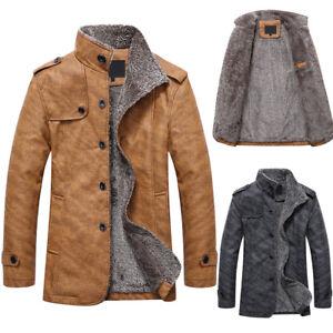 Men-039-s-Buttons-Warm-Leather-Jacket-Parka-Outerwear-Fur-Lined-Winter-Coat-XQ