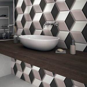 Ol Hexa Cube 3d Effect Grey Porcelain Matt Wall Tiles