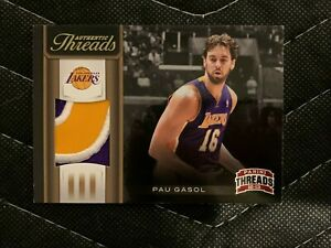Details about Pau Gasol Lakers Jersey Patch Card Authentic Threads 23/25 Game Used 2012 NBA