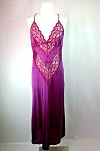 VTG-70s-Sears-Lace-Nylon-Long-Purple-Slip-Nightgown-sz-M-Cross-Back-Lingerie