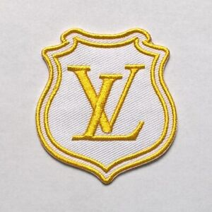 LOUIS-VUITTON-PATCH-Vintage-Style-White-amp-Gold-Brand-New-Very-Rare