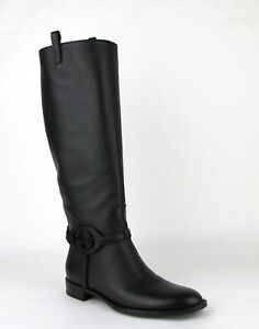 b41c9bb052eb  1440 Gucci Black Leather Knee Boots with Interlocking G 338541 1000 ...