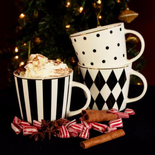 Kaffeebecher Tasse Favorite Porzellan schwarz-weiß Goldrand V39840