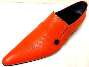 CHELSY-INSOLITO-pelle-arancione-scarpe-uomo-Designer-Pantofola-fatto-mano-39