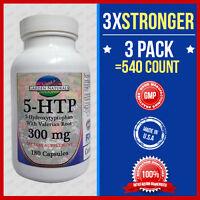 3pk 5-htp 200mg Max Strength+100=3x Stronger 540caps Weight Loss Mood Serotonin