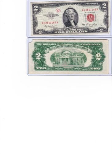 circulated low price wow 1953 or 1963 $2 Red Seal Note Lot of 1 in new holder