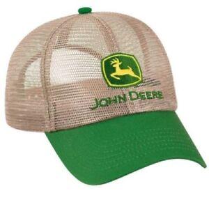 JOHN DEERE *BEIGE & GREEN* ALL FULL MESH SUMMER CAP HAT *BRAND NEW*