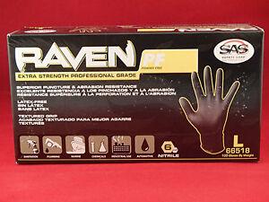 SAS Safety 66518 Raven Powder-Free Black Nitrile 6 Mil Gloves (100 count LARGE)