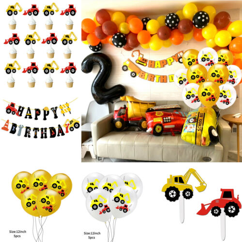 12 In Digging Machine Latex Balloon Engineering Car Theme Birthday Party Decore