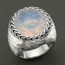 John Hardy Batu Palu Large Oval Moon Quartz Ring in Sterling Silver Size 7