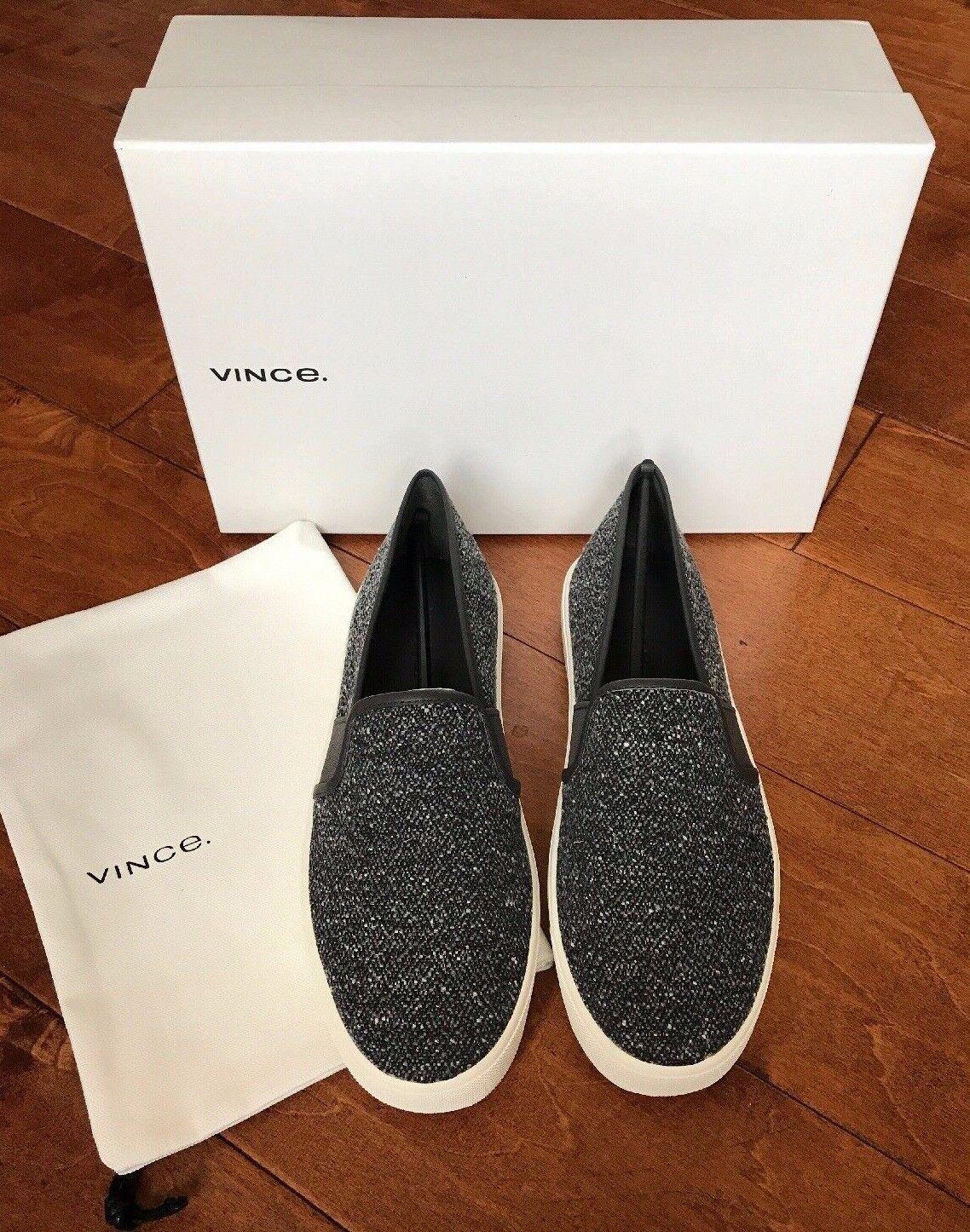 Vince Women's Blair Tweed Slip-On Sneakers shoes Size 7 Grey NIB  195