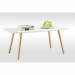 Convenience Concepts Oslo Rectangular Coffee Table in White Wood Finish