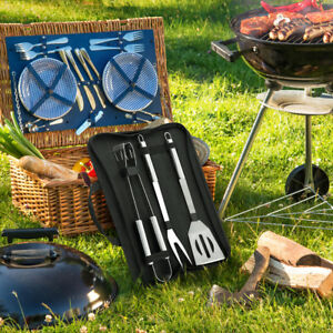 Image Is Loading 3 Pcs Stainless Steel Bbq Grill Tools Set