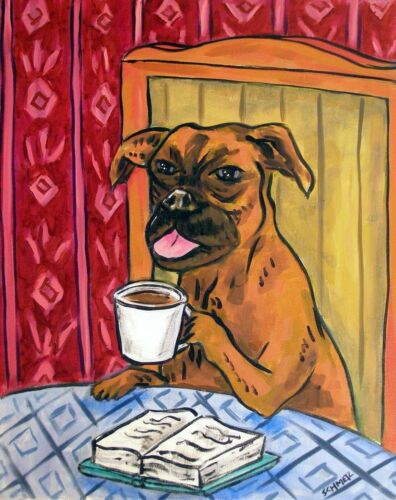 Boxer dog at the cafe coffee shop  art print 4x6